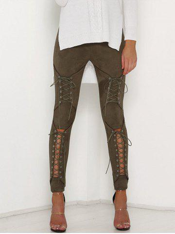 Cut Out Lace Up Faux Pantalon en daim