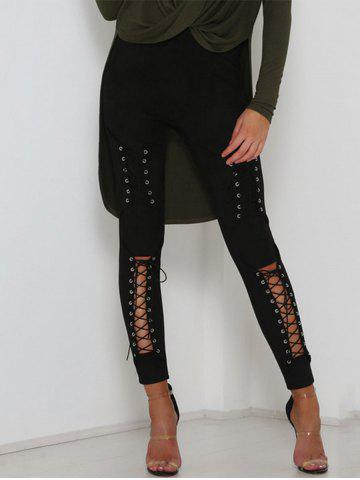 Cheap Cut Out Lace Up Faux Suede Pants