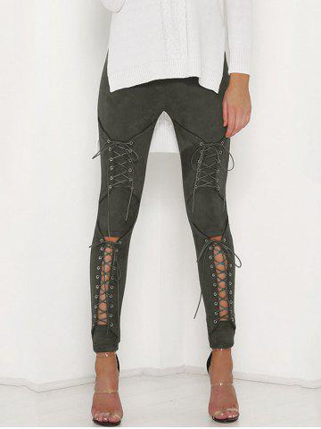 Trendy Cut Out Lace Up Faux Suede Pants