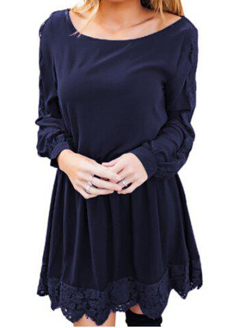 Buy Lace Panel Elastic Waist Long Sleeve Dress
