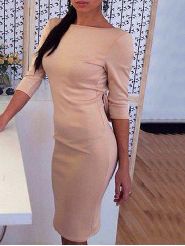 Cheap Open Back Bowknot Embellished Bodycon Dress