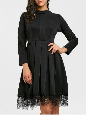 Shop Long Sleeve Pleated Lace Trimmed Dress