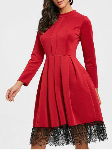 Outfit Long Sleeve Pleated Lace Trimmed Dress