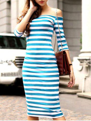 Chic Striped Off The Shoulder Bodycon Dress