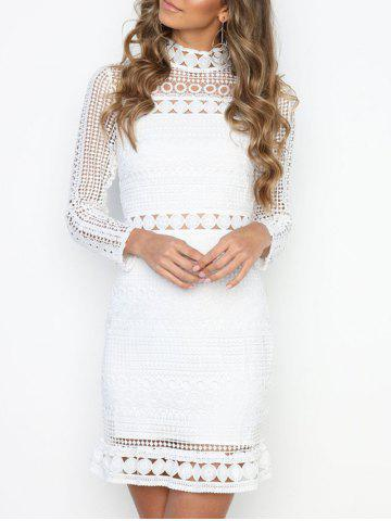 Shops High Neck Lace Panel Dress