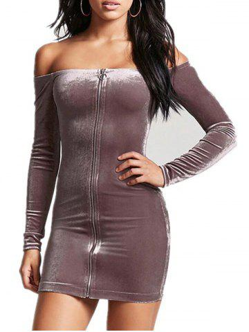 Off The Shoulder Moulante Zipper Dress
