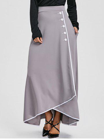 Cheap Buttons High Waist Asymmetric Maxi Skirt
