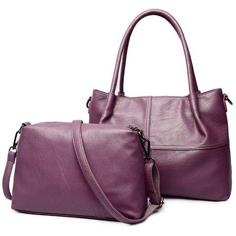 Fancy Faux Leather 2 Pieces Handbag Set