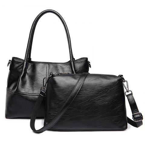 Trendy Faux Leather 2 Pieces Handbag Set