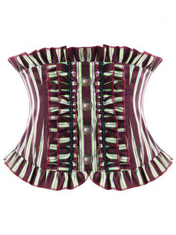 Outfits Ruffles Striped Back Lace Up Corset