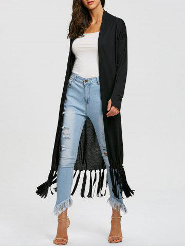 Cheap Fringe Long Open Front Cardigan