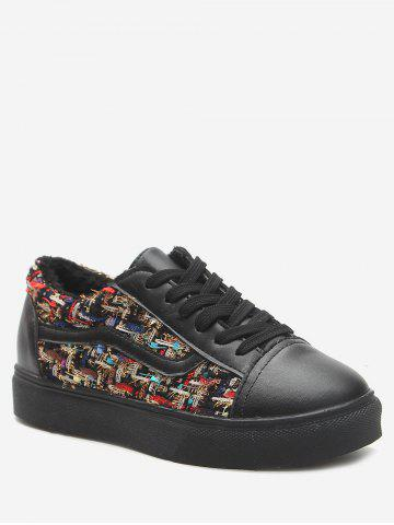 Affordable Color Block Faux Leather Skate Shoes