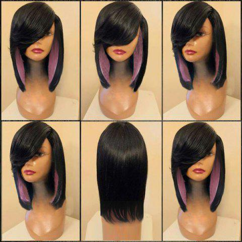 Fashion Medium Side Parting Straight Feathered Colormix Synthetic Wig