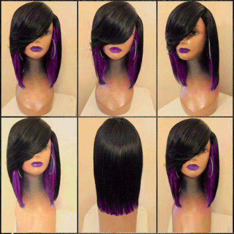 Cheap Medium Side Parting Straight Feathered Colormix Synthetic Wig