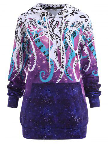 Cheap Plus Size Galaxy Octopus Graphic Hoodie