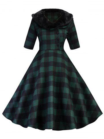 Store Vintage Plaid Swing Fit and Flare Dress