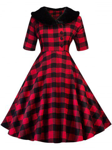 Hot Vintage Plaid Swing Fit and Flare Dress