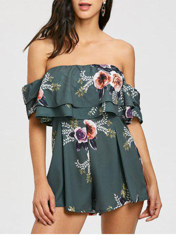 Store Floral Print Off The Shoulder Flounce Romper