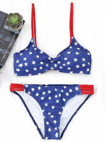 Chic Lace-up Stars Print Bikini Set