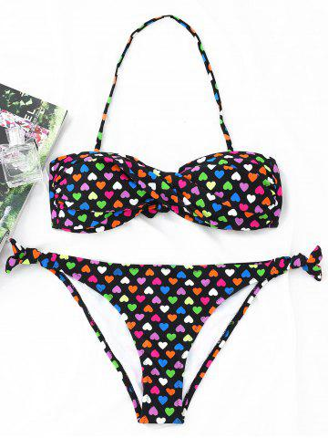 Cheap Hearts Print Twist Bandeau Bikini Set