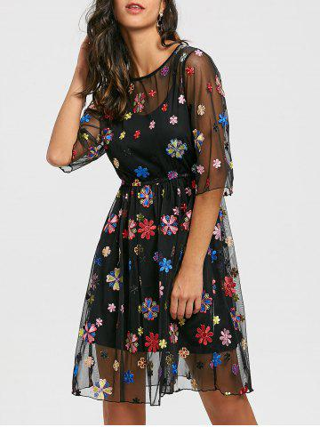Trendy Embroidery Floral Party Dress with Cami Dress