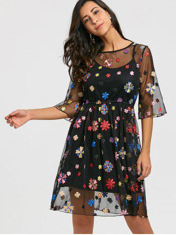 Embroidery Floral Party Dress with Cami Dress