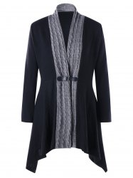 Cable Knit Panel Plus Size Asymmetrical Cardigan -