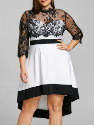 Plus Size Sheer High Low Party Dress