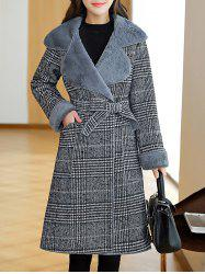 Lapel Plaid Wrap Coat -