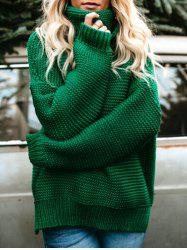 Turtleneck Drop Shoulder Chunky Sweater -