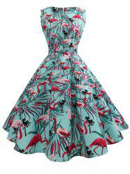 Sleeveless Birds Print A Line Dress -