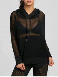 Hooded Mesh Panel Drop Shoulder Sports Top -