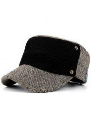Simple Label Pattern Embellished Button Military Hat -
