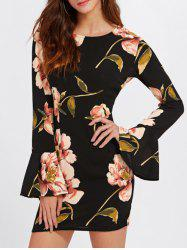 Flare Sleeve Floral Printed Dress -