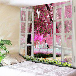 House Decor Window Flower Tree Pattern Tapestry -