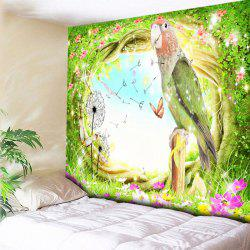 Tree Hole Sky Parrot Flower Print Wall Hanging Tapestry -