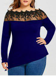 Plus Size Long Sleeve Sheer Embroidered Asymmetric T-shirt - Deep Blue - Xl