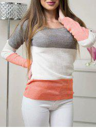 Long Sleeve Color Lump Pullover Sweater -