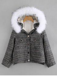 Front Pockets Plaid Parka Jacket -