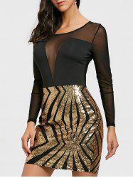Sheer Mesh Panel Sequin Dress -