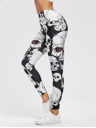 Skull Print Yoga Leggings -