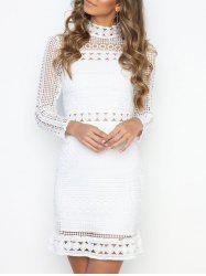 High Neck Lace Panel Dress -