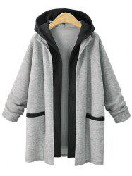Plus Size False Two Hooded Coat -