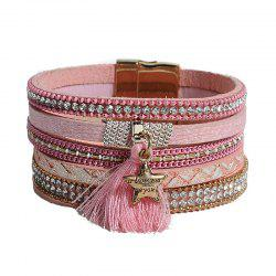 Faux Leather Rhinestone Tassel Star Charm Bracelet -