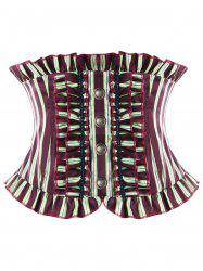 Ruffles Striped Back Lace Up Corset -