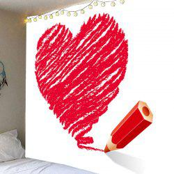 Valentine's Day Crayon Heart Printed Wall Art Decal Tapestry -