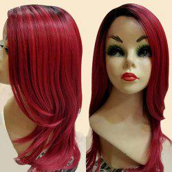 Long Side Parting Ombre Slighty Curled Synthetic Wig -