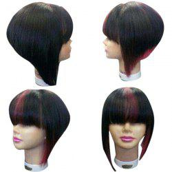 Medium Neat Bang Straight Inverted Bob Colormix Synthetic Wig -