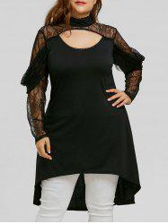 Plus Size High Low Lace Trim Blouse -