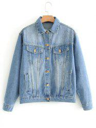 Floral Embroidered Back Denim Jacket -